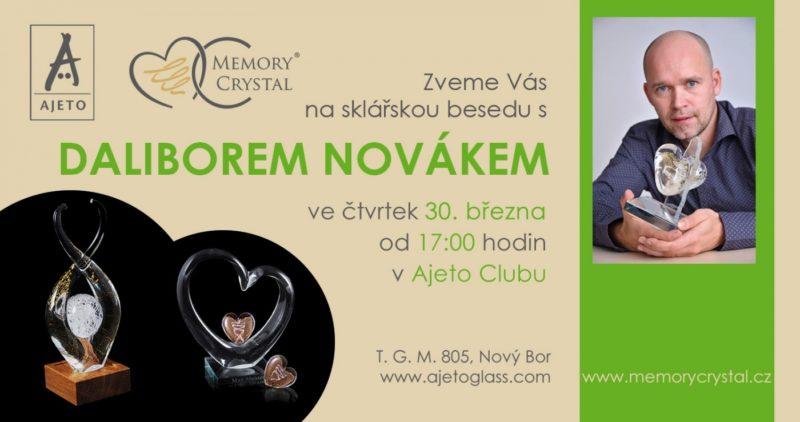 Pozvánka na sklářskou besedu s Daliborem Novákem